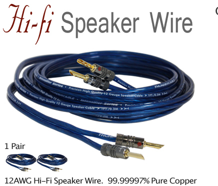 audiophile hi fi speaker wire cable 12 awg 20 39 ft 24k banana plugs copper ebay. Black Bedroom Furniture Sets. Home Design Ideas