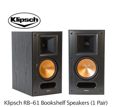 brand new klipsch rb 61 bookshelf speakers rb 61 1 pair two black 400 watts ebay. Black Bedroom Furniture Sets. Home Design Ideas