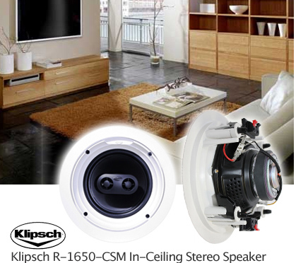 New Klipsch R 1650 CSM in Ceiling in Wall Stereo Speaker Single White ...